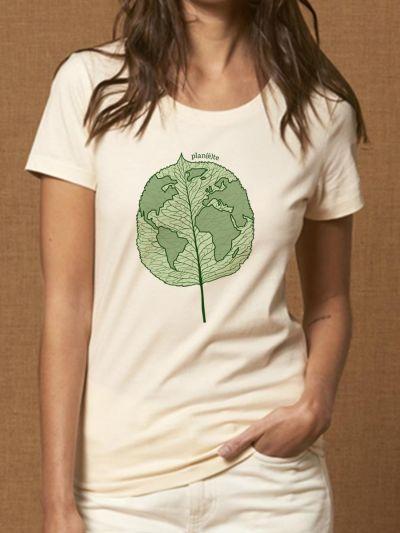 "T-shirt femme ""Plan(è)te feuille"""