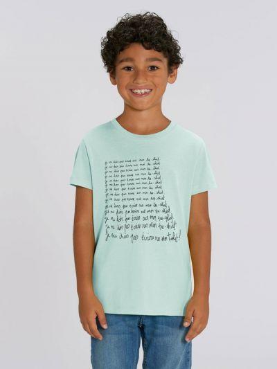 """Tee shirt enfant """"je ne dois pas ecrire sur mon tee shirt"""""""
