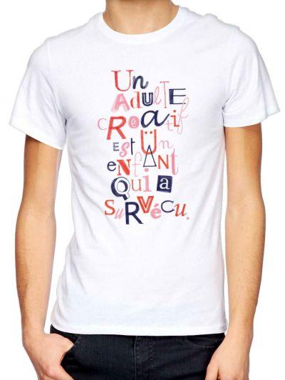"""T-shirt homme """"Un adulte créatif..."""""""