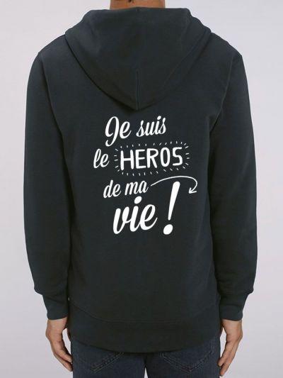 """Veste homme """"Je suis le héros de ma vie"""""""