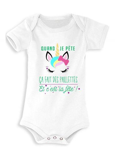 """Body bébé """"Quand je pète"""" (licorne)"""