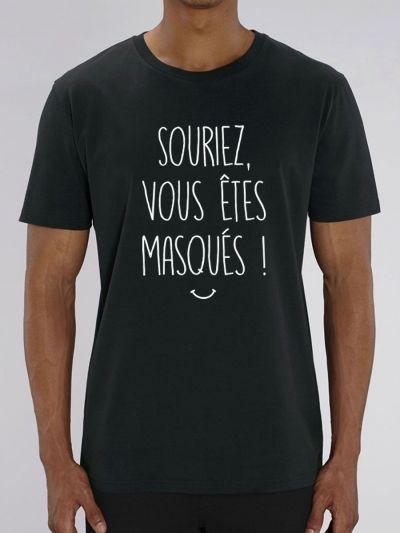 """Tee shirt homme """"Souriez, vous êtes masqués !"""" / Covid 19 Coronavirus"""
